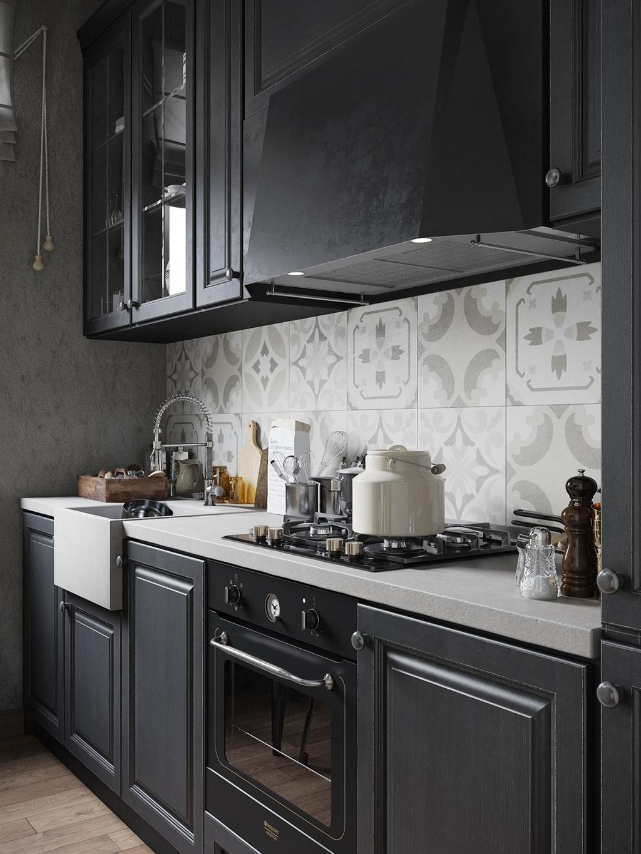 Красивая черная кухня