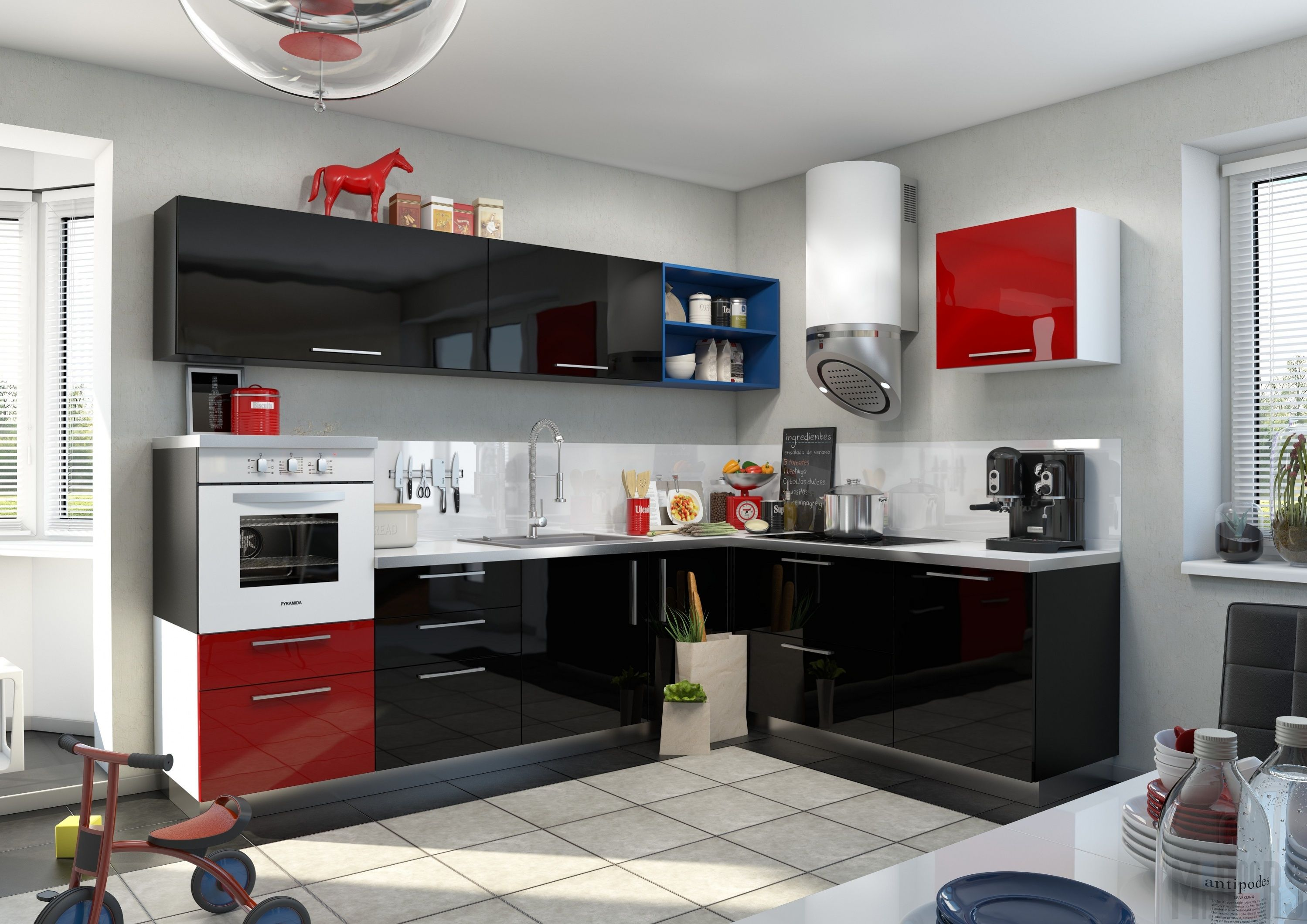 Черная и красная кухня